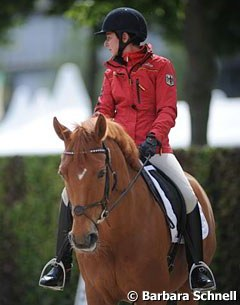Monica Theodorescu back in the saddle in public with her 2009 German team horse Whisper