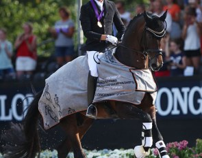 Andreas Helgstrand and Revolution win the 5-year old finals at the 2018 World Young Horse Championships :: Photo © Astrid Appels