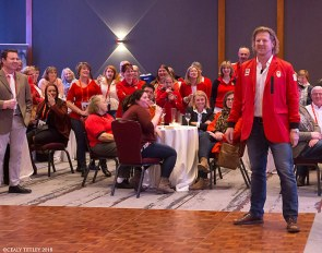 Canadian Cycling Olympian Curt Harnett delivers keynote address at  the Red & White Social Event in support of the CET's journey to the 2018 World Equestrian Games :: Photo © Cealy Tetley