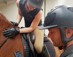 Tristan Tucker explaining the Hylofit heart rate monitor for rider and horse