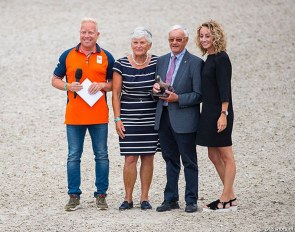 Maarten van der Heijden (KNHS Technical Director), Mrs and Mr Jan Peeters and Maud Ernes at the 2018 Dutch Dressage Championships :: Photo © Digishots