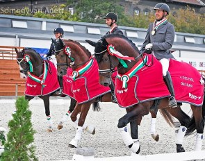 Hungarian Young Horse Champions For Joy, Jamiroquai and Francois in the lap of honour :: Photo © Anett Somogyvári