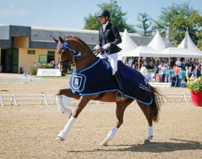 Jessica Michel and Dorian Grey de Hus at the 2018 French Young Horse Championships :: Photo © Les Garennes