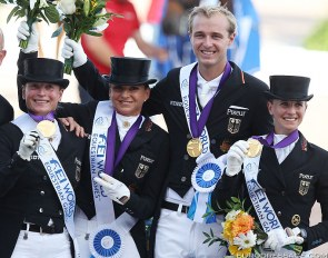 Germany with Werth, Schneider, Rothenberger and Werndl win Team Gold at the 2018 World Equestrian Games :: Photo © Astrid Appels