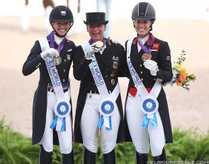 The Grand Prix Special podium at the 2018 World Equestrian Games: Graves, Werth, Dujardin :: Photo © Astrid Appels