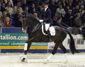 Hans Peter Minderhoud and Rhodium being presented at the 2003 KWPN Stallion Licensing :: Photo © Dirk Caremans