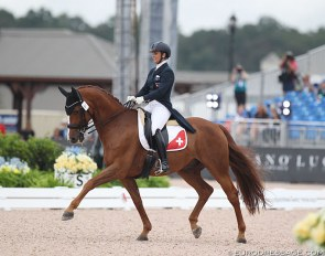 Swiss Antonella Joannou and Dandy de la Roche was one of four Swiss team members competing at the 2018 World Equestrian Games in Tryon :: Photo © Astrid Appels