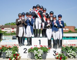 The podium at the 2019 Swiss Dressage Championships in Basel :: Photo © Stuppia