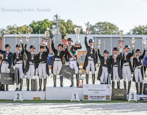 The complete podium of all medal winners at the 2019 Hungarian Dressage Championships :: Photo © Anett Somogyvari