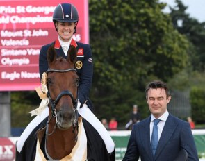 Dujardin on Mount St. John Valencia Win the Prix St Georges, sponsored by Fairfax Saddles, and gets a brand new Fairfax World Class Monoflap Saddle :: Photo © Kevin Sparrow