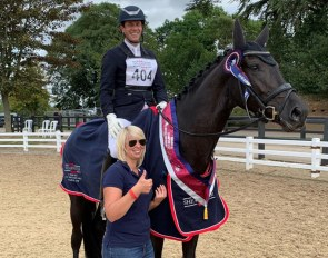 Tom Goode on Special Diva with a proud owner  Isabelle Bergmann at the 2019 British Young Horse Championships
