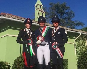 The Grand Prix Freestyle podium at the 2019 Italian Dressage Championships with Truppa, Maroni and Soldi :: Photo © FISE