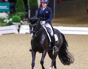 Ruth Shirkey (Region 7) & Wyleigh Princess cantered to victory in the Intermediate I Adult Amateur Freestyle Championship at the 2019 US Dressage Finals :: Photo © Sue Stickle