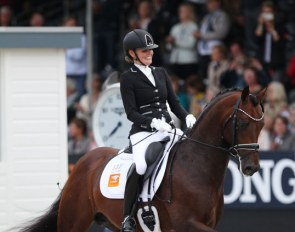 Renate van Vliet and Johnny Depp at the 2019 World Young Horse Championships :: Photo © Astrid Appels