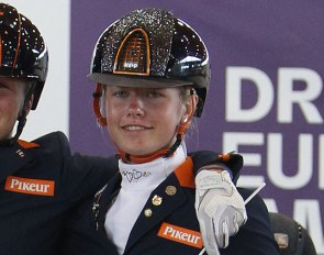 Senna Evers with team silver at the 2019 European Children Championship :: Photo © Astrid Appels
