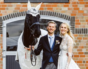 Nikolas Kröncke with San Royal and Kathleen Keller. Horse, bride and dogs decked out in an Anna Klose custom wedding outfit