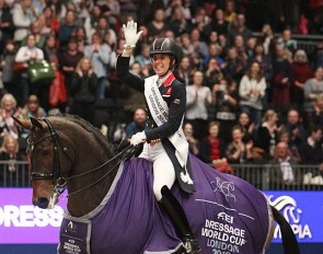 Charlotte Dujardin and Mount St. John Freestyle win the 2019 CDI-W London :: Photo © Astrid Appels