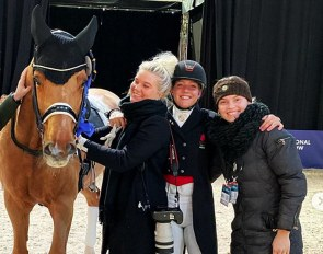 Cassidy, Rasmine Laudrup, Catherine Dufour with groom Catarina Hall at the 2019 CDI Stockholm