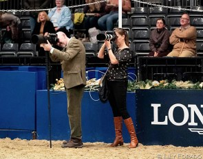 British photographer Jon Stroud (who also does a lot of para photography) and Eurodressage's Astrid Appels  at the 2019 London Olympia Horse Show :: Photo © Lily Forado