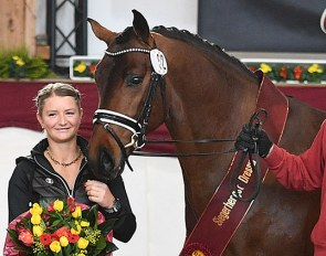Mandy Zimmer and her champion stallion Finley (by For Romance x Diamond Hit) at the 2020 DSP Stallion Licensing in Munich