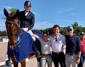 Jan Ebeling and Status Royal OLD with Amy Ebeling, coach Christoph Koschel and judge Gary Rockwell at the 2020 CDN Wellington