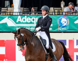 Anna Marek (USA) records her first win of the week, claiming the top spot in the FEI Intermediate I Freestyle CDI3* with 73.8% on Snoopy Sunday :: Photo © Sue Stickle