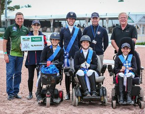 First place ribbons for Para Team U.S.A. at the 2020 CPEDI Wellington :: Photo © Sue Stickle