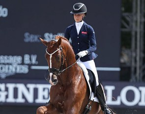 Juliane Brunkhorst and Ibiza at the 2018 World Young Horse Championships in Ermelo :: Photo © Astrid Appels