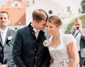 Newly weds Cale Jandro and Franziska Fries at their civil ceremony in September 2018