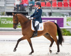 Sanne Voets and Vedet PB at the 2014 World Equestrian Games in Caen :: Photo © Jon Stroud