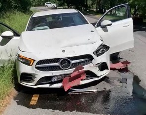 Natalie Oldfors' car after a head-on collision on 15 June 2020