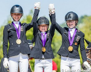 Emily Rother, Carolina Miesner and Clara Paschert win team gold for Germany at the 2020 European Children Championships :: Photo © Lukasz Kowalski