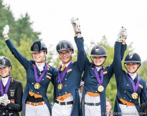 Team gold for The Netherlands at the 2020 European Young Riders Championships :: Photo © Lukasz Kowalski