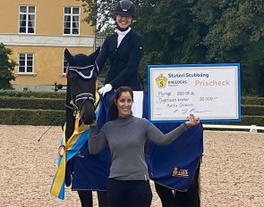 Swedish Warmblood 3-year old Champions: Camilla Axelsson with Marita Strauch's mare Bergsjoholms Barletta (by For Romance II x Epson)
