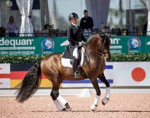 Amina Sade and Fiti Al performing during USPRE Week at the Global Dressage Festival :: Photo © Lily Forado