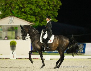Jessica von Bredow-Werndl and Dalera BB competing under floodlight at the 2020 CDI Hagen :: Photo © Astrid Appels