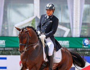 Dong Seon Kim and Lord Nunes on the first day of competition during the final week of the 2021 Global Dressage Festival in Wellington :: Photo © Sue Stickle