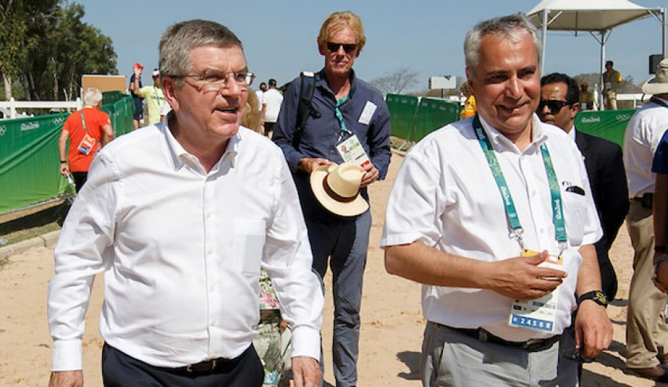 IOC president Thomas Bach and FEI president Ingmar de Vos at the 2016 Olympic Games in Rio :: Photo © Dirk Caremans