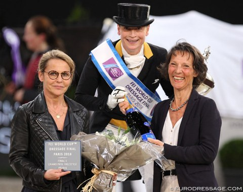 Paris World Cup Finals' show organizer Sylvie Robert with Isabell Werth and the president of the ground jury, Isabelle Judet