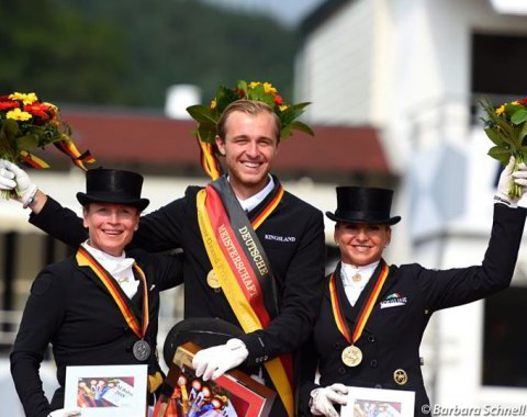 The podium after the Grand Prix and Special: Isabell Werth, Sönke Rothenberger, Dorothee Schneider