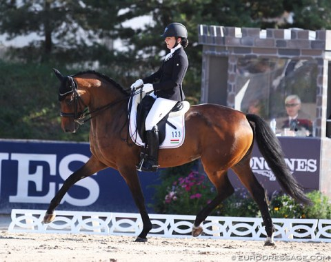 Hungarian Zsofia Lazar on the very talented mover Balerina Royal. Unfortunately the mare was too tense