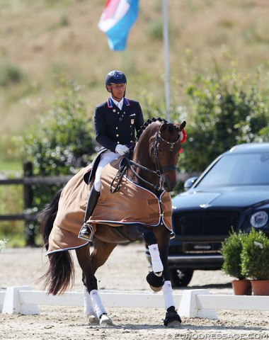 Steffen Peters and Rosamunde win the Grand Prix for Kur tour at the 2018 CDI Leudelange