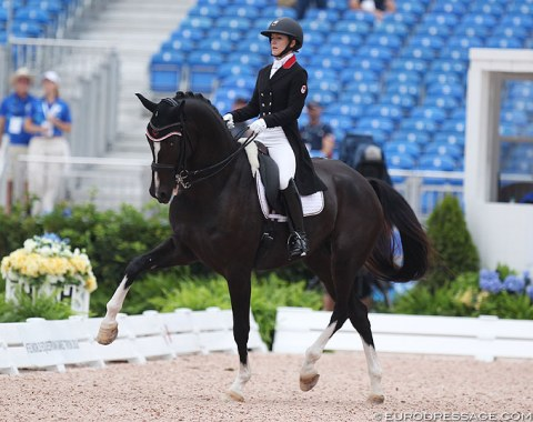 Canada's Belinda Trussell on Tattoo, who is bred by the late Georg Theodorescu