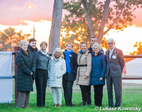 The judges by sunset at the 2018 CDI-W Fot : Elizabeth McMullen, Raphael Saleh, Ricky MacMillan, Barbara Ardu, Irina Maknami, Orsolya Hillier, Ilja Vietor, Anne Prain, and Leif Tornblad