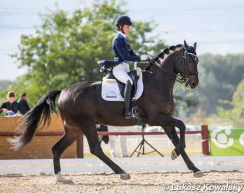 Czech Eva Vavrikova on Siracusa, a horse she bought last year after it competed at the World Young Horse Championships in Ermelo. The pair won the junior team test, was last in the individual but then climbed back up to second place in the kur