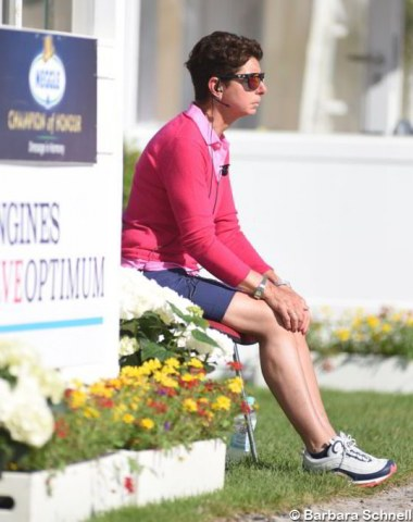 Team trainer Monica Theodorescu inspects the morning training sessions
