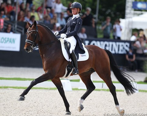Adelinde Cornelissen on the Guelderlander Henkie (by Alexandro P x Upperville). This was their third World Championships. Big moving horse, which bulked up much in muscle. Today the contact was too hand held with the horse opening the mouth often, but he showed much talent nonetheless