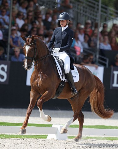 Mara de Vries on Habibi DVB (by Don Schufro x Johnson). This horse is bred, owned and trained by 2000 Dutch Olympian Coby van Baalen