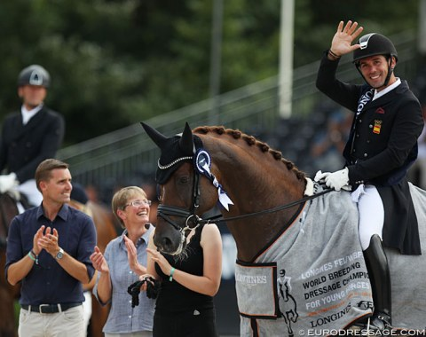 A Second gold for D'Avie. Owner Andreas Helgstrand, breeder Dorothee Heitmüller and rider Severo Jurado Lopez all smile