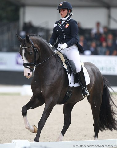 Hungarian Under 25 rider Jazmin Yom-Tov on the lovely Westfalian Foy Joy (by Feedback x Donnerbube II)